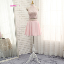 HVVLF Pink 2017 Homecoming Dresses A-line High Collar Short Mini Organza Beaded Crystals Two Pieces Cocktail Dresses(China)
