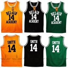VTURE Basketball T-shirts Will Smith #14 Bel Air Academy Basketball Jerseys(China)