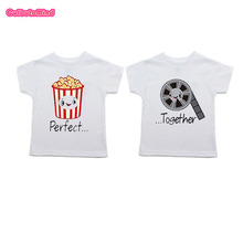 Culbutomind Popciorn and Film Perfect Together Twin Best Friends Baby T-shirt Twins Baby Gifts(China)