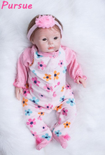 "Buy Pursue 22""/55cm Pink Princess Lifelike Newborn Silicone Dolls Reborn Toddler Baby Dolls Girls bonecas bebe reborn realistas"
