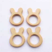 10pcs Rabbit Wooden Teether Nature Baby Rattle Teething Grasping Toy DIY Organic Eco-friendly Wood Teething Accessories(China)