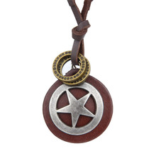 Retro Alloy Star Circle Pendant Leather Chain Necklaces Accessories Fashion Jewelry For Women Men Bijouterie