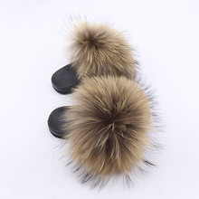 2018 Rass ple New Women Real Fox Slippers Raccoon Slides Beach Slippers Chinelos Menina Slippers Girl Slippers Female(China)