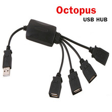 Premium Black Octopus style High Speed 4 Port USB 2.0 Hub cable Splitter for PC Laptop(China)