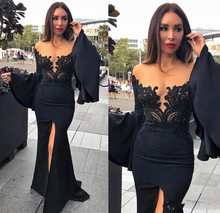 Off Shoulder Black Lace Evening Dresses Wear Plunging Neck Poet Sleeves Prom Gowns 2017 Party Gowns