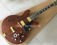 2017 Jazz Electric guitar Trans brown semi glossy finished like playing years,gold parts,black pickguard,free shipping!(China)