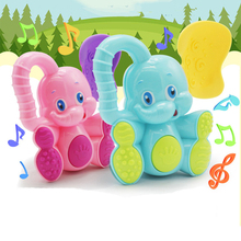 1Set Cute Deer Elephant Animals Plastic Baby Toys Hand Jingle Shaking Bell Rattle Toddler Music Xmas Birthday Toy for Kids