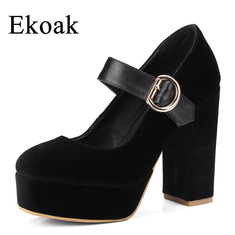 Ekoak New 2018 Fashion Party Wedding Shoes Woman Super High Heels Platform Shoes Mary Janes Women Pumps Handmade Women Shoes<br>