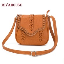 Miyahouse Vintage Hollow Out Women Messenger Bag Fashion Knitting Shoulder Bag Lady Handbags Portable PU Leather Crossbody Bags(China)