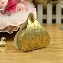 100pcs European Romantic Gold Peach Heart Wedding Candy Boxes Wedding Favours Box Gift Boxes Free Shipping(China)