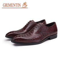 GRIMENTIN wedding dress shoes men blue black genuine leather crocodile designer men business shoes