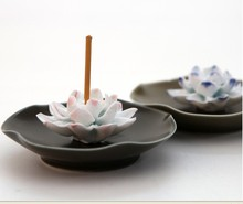 Handmade ceramic incense holder.JingDeZhen editions(ceramic capital in China).10x3.5cm.Nice lotus+magnificent colors,nice gift.