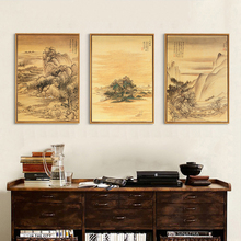 Mountain Landscape Scenery Ink Painting Canvas Mural Poster Chinese Style Nordic Wall Art Drawing Ornament for Study Office Home