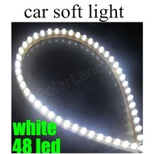 top sell 2 pieces 48cm 48LED 3W 12V LED Car Flexible Durable Light Lamp White Strip soft newest