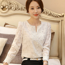 2017 new spring Korean fan large size women V collar Beaded long sleeved jacket backing loose chiffon shirt T1162