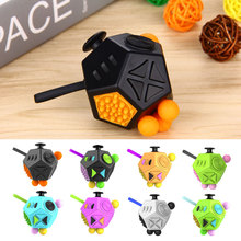 2017 New Version Fidget Cube 2 Stress Reliever Gifts Relieves Anxiety Squeeze Fun 12 Sided Magic Cube For Adults Kids 9 Colors(China)