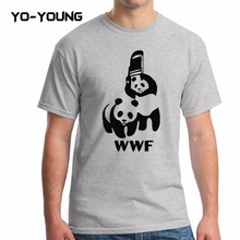 Men T-Shirts Funny Spoof Logo WWF Panda Design Printed 100% 180 gsm Combed Cotton Casual Summer Men T shirts Customized(China)