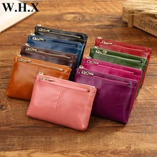 WHX Genuine Leather Short Wallet Fashion Women Wallets Female zipper Wallet Lady Coin Purse Pocketbook Billfold Card Money Bags(China)