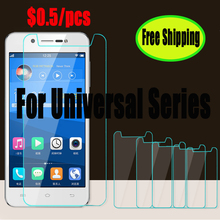 50pcs/lot for Universal 4.0'' 4.5'' 4.7'' 5.0'' 5.3'' 5.5'' inch Tempered Glass screen protector in OPP Bag 0.3mm