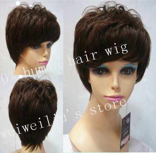 Brazilian Hair wigs Short Brown Elegant Remy Hair Wigs machine cap free shipping<br><br>Aliexpress