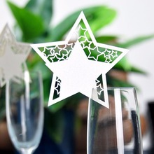 50x Laser Cut Star Wine Glass Cup Card Name Place Escort Cards Wedding Baby Shower Table Dinner Birthday Party Decorations