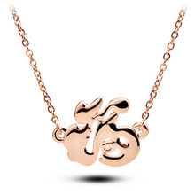 New Fashion jewelry Plating Gold Chinese characters choker pendant necklace Women/Girl lover Valentine's Day gifts 2015