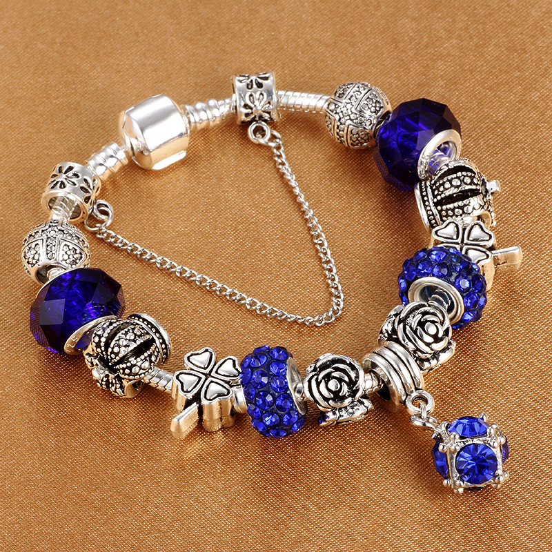 European Style Silver Plated Crystal Charm Bracelet