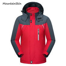 Mountainskin 2017 New Men's Jacket Spring Autumn Male Coats Waterproof Windbreaker Breathable Hooded Jacket Men Branded LA199