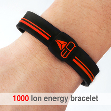 Free Shipping 1000 ion Silicone Band Power Energy Hologram Bracelets Bangles Wristbands With Sport Silicon Bracelet Wrist Band