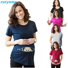 Maternity T-Shirts Cotton Baby Printed Short Sleeve Loose Tank Tops Women tshirt Pregnancy T Shirt Pregnant Long Tee Shirts(China)