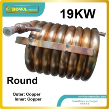 19KW outer and inner copper pipe coaxial heat exchanger coils suitable for 61000BTU air conditioner or water chiller with ZR61(China)