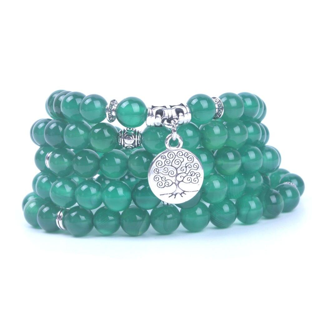 10 mm Unique Tibet bouddhiste 108 vert jade Gemme prière perles Mala Collier