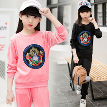 child Clothes suits on spring new girl cool fashion printing movement two clothes sets long full sleeved sweatshirt +pants 198(China)