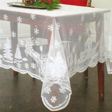 Snowflake Elk Lace Table Cloth Soft Glass Cover Tablecloth Christmas Room Wedding Decor Table Cloth 160*230cm QB894568(China)