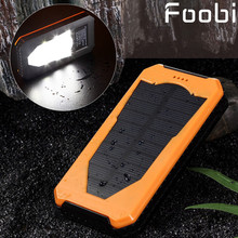 2016 New solar power bank with camping lamp 15000mah double interface external charger mobile power bank for all phones