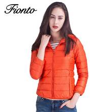 Winter Women Ultra Light Down Coat 90% Duck Down Hooded Jackets Warm Long Sleeve Casual Parka Female Solid Slim Overcoat F594