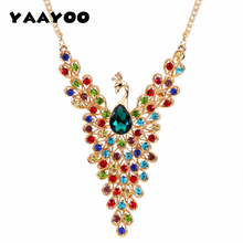 YAAYOO Newest Colorful Rhinestone Crystal Peacock Statement Necklace Pendant Women Summer Style Fashion Jewelry For Gift Party(China)