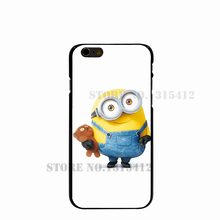 11159 Bob minion and Tim teddy bear Hard black Cover cell phone Case for iPhone 4 4S 5 5S SE 5C 6 6S Plus 6SPlus