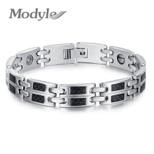 Stainless steel Energy man power Bracelet banlace Health Germanium Stone men's bracelet bangles for men(China)