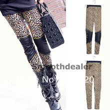 2016 newest On Sale! Women ladies Sexy Leopard Pants Faux Leather Zipper Patchwork Thin Stretch Leggings