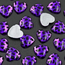 70PCS/LOT 16mm Violet leopard grain Heart Rhinestone,Acrylic Resin Crystal Non Hotfix Flatback glitters for DIY jewelry parts