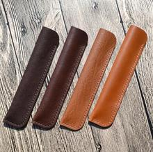 Genuine Leather Waterproof Fountain Pen Bag Durable Pencil Case Simple Bag Pen Holders School Supplies Stationery