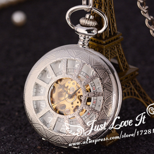 Vintage Silver Engraved Case Men Mechanical Pocket Watch With Chain hollow Hand-Winding Best Gift Pendant Necklace<br><br>Aliexpress
