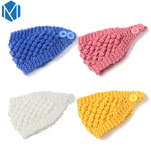 M MISM Women Knit Tube Headband Fashion Hair Bandage Accessories Crochet Button Turbante Turban Twisted Warm Headwear Head Bands(China)
