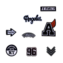 New Black White Patches Angeles Amazing NY BOY Patch Iron On Or Sew Fabric Sticker For Clothes Badge Embroidered Appliques DIY(China)