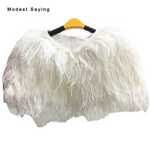 Elegant Ivory Ostrich Feather Winter Fur Wedding Coats 2017 Formal Women Warm Capes Bridal Boleros Shawl Wedding Accessories YB1