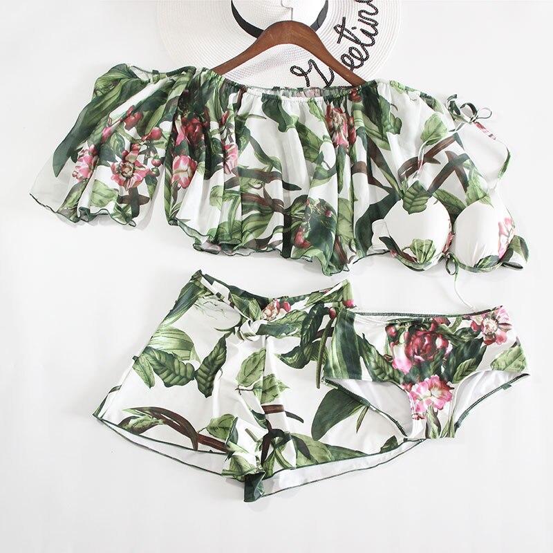 2017 New Sexy Swimwear Women Green Leaf Bikini Swimsuit Brazilian Bikini Halter Bathing Suits Retro Vintage Print Beach Biquini<br>