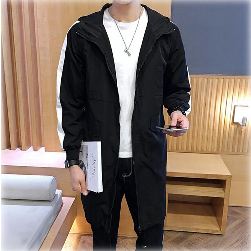 High Quality 2017 Men Slim Fit Fashion Trench Coat Casual Hooded Mens Trench Coat Patchwork Gabardina Hombres Invierno