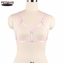 Buy Womens Pink Body Harness Bra Bustier Goth Harajuku Bondage Lingerie Elastic Strappy Tops Cage Bras Erotic Fetish Belt Rave Wear