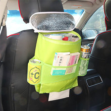 2016 Car Storage Bag Seat Back Organizer Insulated Seat Back Drinks Holder Cooler Cool Wrap Bottle Bag with Mesh Pockets(China)